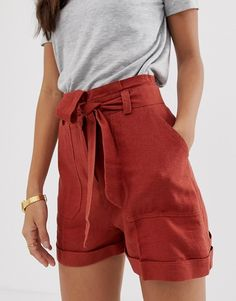 Find the best selection of ASOS DESIGN linen tie waist shorts. Muslim Fashion, Modest Fashion, Hijab Fashion, Fashion Outfits, Modest Dresses, Modest Outfits, Girls Fashion Clothes, Girl Fashion, Tie Waist Shorts