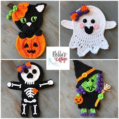 The detail on these crochet Halloween appliques is amazing! Those little bones on the skeleton are killing me haha!  What would you put these on?  http://tidd.ly/1573f78d (aff)
