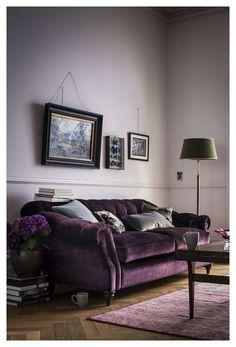 Decor, Furniture, Living Room Designs, Purple Sofa, Purple Living Room, Purple Velvet Sofa, Home Decor, Room, Room Design