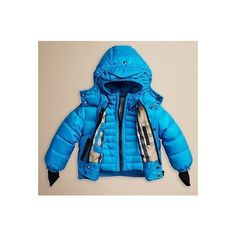 BURBERRY KIDS' HOODED TWO LAYER PUFFER DOWN JACKET ELECTRIC BLUE SZ 2Y... via Polyvore