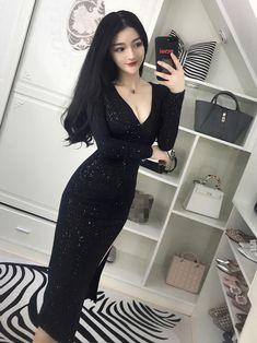 V Neck Split Black Glitter Sexy Dress Prom Dress Shopping, Online Dress Shopping, Moda Ulzzang, Black Tie Gown, Dress Up, Bodycon Dress, Column Dress, Korean Outfits, Korean Clothes
