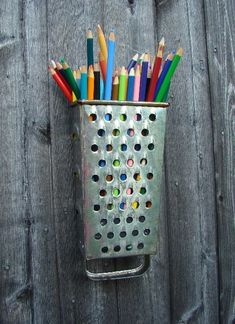 Find a cheese grater and turn into a pencil holder. #yard sale #garage sale #tag sale #recycle #upcycle #repurpose #redo #remake #thrift