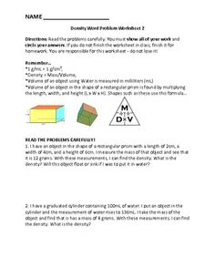 Density: Float or Sink? De-7 | Worksheets and Students