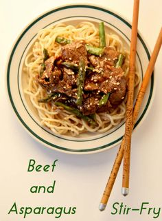 A quick and easy weeknight meal!  This Beef and Asparagus Stir-Fry can be served over Chinese noodles or rice.