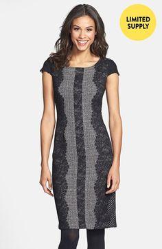 Lace Trim Tweed Sheath Dress
