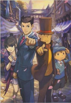 Phoenix Wright vs. Professor Layton. This game makes me so happy. It better come out in the U.S.