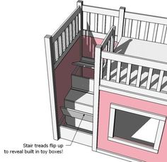 Ana White's loft bed storage steps.  Combine with her hack of the IKEA Kura bed (instead of ladder)