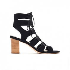 Loeffler Randall Thea Gladiator Sandals in black nubuck suede with lace-up front.