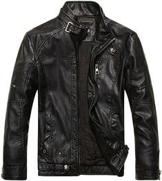 Chouyatou Men's Vintage Stand Collar Pu Leather Jacket (X-Small, Black) at Amazon Men's Clothing store: