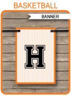 Basketball Party Banner template – black/orange
