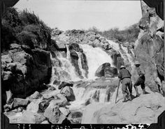 https://flic.kr/p/71WD7u | Expedition members photographing the waterfalls | Two expedition members [maybe Cutting with camera and Fuertes?] with camera and tripod photographing the waterfalls. 1927.  Name of Expedition: Daily News Abyssinian Expedition Participants: Wilfred Osgood, Louis Agassiz Fuertes, C. Suydam Cutting, Jack Baum, Alfred M. Bailey Expedition Start Date:  September 7, 1926 Expedition End Date: May 20, 1927 Purpose or Aims: Zoology Mammals and Birds Location: Africa…
