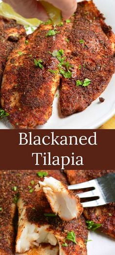 Blackened Tilapia recipe that's done in only 20 minutes and tastes incredible. Juicy, flaky tilapia fillets are dipped in melted butter and generously coated in a homemade blackening seasoning. recipes Blackened Tilapia - Will Cook For Smiles Tilapia Fish Recipes, Seafood Recipes, Cooking Recipes, Healthy Recipes, Tilapia Fillet Recipe, Baked Tilapia Fillets, Tilapia Dishes, Salmon Recipes, Recipe For Baked Tilapia