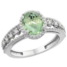 14K White Gold Natural Green Amethyst Ring Oval 9x7 mm Floating Diamond Accents, sizes 5 - 10 *** Special  product just for you. See it now! : Promise Rings