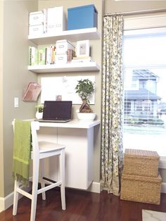 """DIY Corner """"Office"""" - wonder if this would fit in mud room corner? Corner Office, Office Nook, Room Corner, Home Office Space, Small Office, Office Spaces, Corner Desk, Desks For Small Spaces, Small Desk Space"""