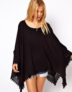 ASOS | ASOS Oversized Top in Linen Nep with Lace Hem at ASOS