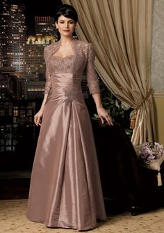 A-line Sweetheart Strapless Floor-length in Taffeta Mother of the Bride Dress
