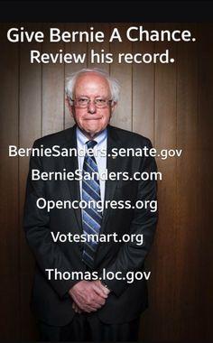 Integrity. Transparency. Experience. Consistency.  Vote #BernieSanders FeelTheBern.org