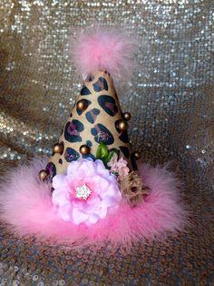 Our pink & leopard birthday hat... Available in out etsy shop.