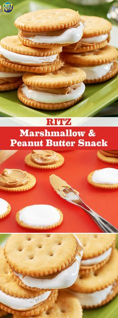 End the fourth quarter with our RITZ Marshmallow & Peanut Butter Snacks. When you combine peanut butter and marshmallow creme between two buttery RITZ Crackers, there's no sweeter way to celebrate your team's victory! Lunch Snacks, Yummy Snacks, Delicious Desserts, Snack Recipes, Dessert Recipes, Yummy Food, Kid Snacks, School Snacks, Healthy Food