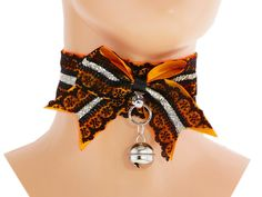 Black orange ribbon lace choker, collar kawaii pastel, kawaii collar, neko girl, kittenplay, bdsm collar, kitten pet play, ddlg, puppy V2
