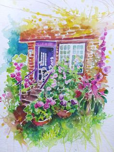 Watercolour painting of a purple door with flowers by WatercoloursForSale on Etsy Oil Painting For Sale, Paintings For Sale, Red Tulips, Pink Flowers, Watercolours, Watercolour Painting, Art Tutor, Spring Images, Purple Door