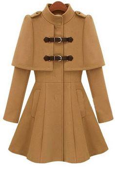Khaki Long Sleeve Cape Woolen Coat