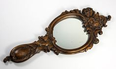 "Large 14.5"" Long Hand Carved Black Forest Framed Vanity or Hand Mirror, c. 1880"