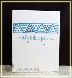 Smiling while Stamping: Summer Blues Handmade thank you card using My Favorite Things Trendy Triangles stamp set