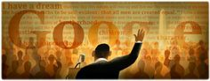 """Google is celebrating the 50th anniversary of the """"I have a dream"""" speech with a Doodle depicting Martin Luther King, Jr."""