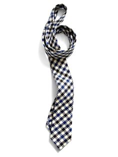Skinny Black and Royal Blue Plaid Tie