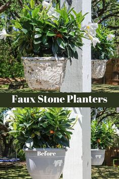 DIY faux stone hanging planters Plastic Planters, Big Planters, Diy Projects On A Budget, Outdoor Projects, Upcycle Home, Repurpose, Reuse, Farmhouse Style Decorating, Farmhouse Decor