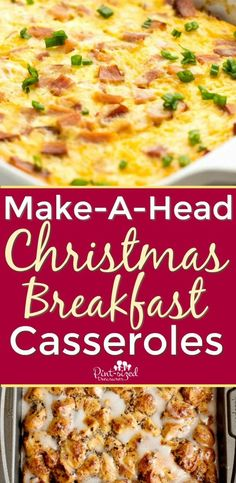 These make-a-head Christmas breakfast casseroles will make Christmas morning a breeze! They're filling, simple to toss together and taste amazing! You can even make several breakfast casseroles fro Christmas morning for a Christmas brunch! Christmas Breakfast Casserole, Make Ahead Breakfast Casserole, Hashbrown Breakfast Casserole, Christmas Morning Breakfast, Brunch Casserole, Christmas Brunch, Casserole Recipes, Breakfast Recipes, Breakfast Dessert