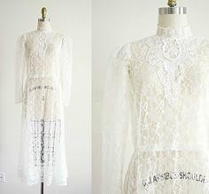 vintage bohemian lace 1970s wedding dress . Victorian style white sheer boho tea length wedding gown . medium by VelvetPinVintage on Etsy