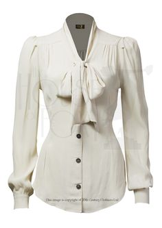 7e7e9596c37295 Gorgeous and demure style  Pussy Bow  blouse in ivory crepe viscose fabric  - feels and behaves just like vintage