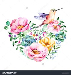 Beautiful template card.Perfect for Happy Valentines Day.Handpainted illustration.Watercolor heart with roses,flower,foliage,succulent plant,branches,hummingbird.Hand drawn illustration.Lovely Bouquet