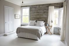 light gray room with wood accent wall - Google Search