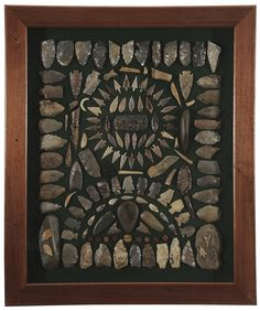 Framed Collection of Native American Artifacts. I want to get enough arrowheads to hang at least one frame, with the dark background as above,