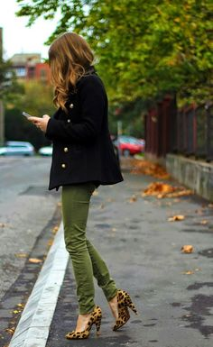 leopard print shoes and green pants