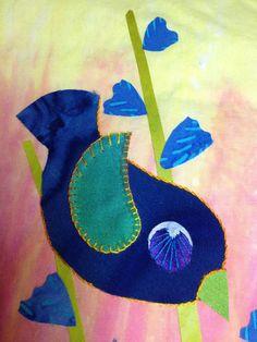 bird2 Iron On Applique, Wool Applique, Applique Quilts, Small Quilts, Mini Quilts, Cute Stitch, Post Card, Applique Designs, Fabric Art