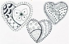 A Bird On The Head: Zentangle Hearts by teagans mom
