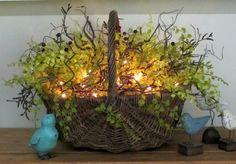 Beautiful use of greens for lighted table decor