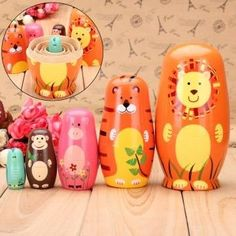 5pcsSet Cute Wooden Nesting Dolls Matryoshka Animal Russian Doll Paint Gift by Completestore ** See this great product.