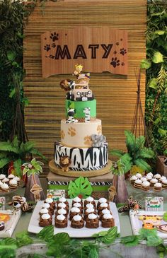 Safari Birthday Party Ideas & Photo 1 of 13 & Catch My Party Safari Birthday Party Ideas & Photo 1 of 13 & Catch My Party The post Safari Birthday Party Ideas Safari Birthday Cakes, Jungle Theme Birthday, Safari Theme Party, Safari Birthday Party, Animal Birthday, Jungle Safari Cake, Jungle Theme Cakes, Jungle Theme Parties, Themed Parties
