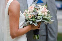 Wedding Flowers   Bridal Bouquets   Centerpieces   Flowers #blushandgrey #gardenrose #succulents #dustymiller  #josephinebutlerparkscenter