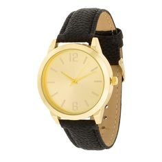 Gold Black Leather Watch