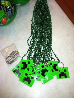 Minecraft party idea. The boys love them! I would like to make key chains with them.