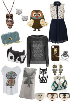 """cute owl stuff ❤"" by chelseapun ❤ liked on Polyvore"