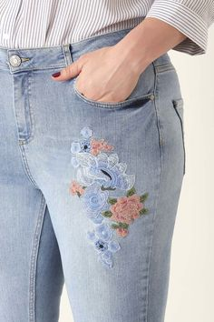 Trendy Embroidery Slim Jeans, Denim Shorts, Legs, Model, Outfits, Embroidery, Products, Fashion, Clothing