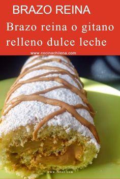 Brazo de reina o brazo gitano Chilean Recipes, Chilean Food, Main Dishes, Recipies, Food And Drink, Bread, Baking, Sweet, Desserts