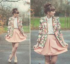Floral blazer; Salmon pink skirt